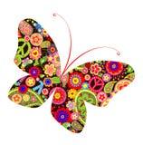 Impresión con la mariposa con el hippie simbólico stock de ilustración