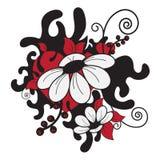 Impresión con las flores y los corazones Foto de archivo libre de regalías