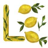 Impresión con los limones de la acuarela fotos de archivo libres de regalías