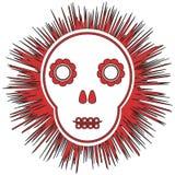 impresión Cráneo esquemático divertido con las flores en el extracto stock de ilustración