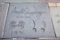 Impresión de Arnold Schwarzenegger en Hollywood imagen de archivo