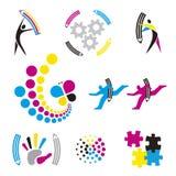 Impresión de color, iconos del diseño gráfico stock de ilustración