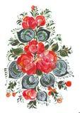 Impresión de Digitaces y ramo del clip art de flores en el estilo ruso Volkhovskaya Fotos de archivo
