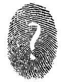 Impresión de Digitaces y signo de interrogación libre illustration