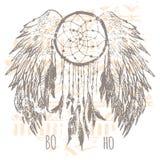 Impresión de Dreamcatcher, gráficos de la camiseta, vectores Imagen de archivo
