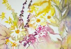 Impresión de flores salvajes contra un fondo blanco Fotos de archivo