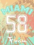 Impresión de la camiseta con la feria y las palmeras de diversión de los números Imagen de archivo libre de regalías