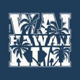 Impresión de la camiseta de Hawaii Waikiki con las palmeras Fotografía de archivo