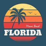 Impresión de la camiseta de la Florida Miami Beach Fotografía de archivo libre de regalías