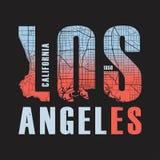 Impresión de la camiseta de Los Ángeles California Ilustración del vector Imagen de archivo libre de regalías