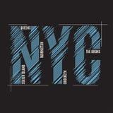 Impresión de la camiseta de Nueva York Typograp de la etiqueta del sello de los gráficos del diseño de la camiseta Imagen de archivo libre de regalías