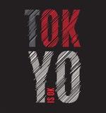 Impresión de la camiseta de Tokio Tipografía de la etiqueta del sello de los gráficos del diseño de la camiseta stock de ilustración