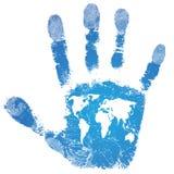 Impresión de la correspondencia de mundo de la mano stock de ilustración