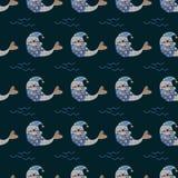 Impresión de la fauna El animal lindo del sello es modelo inconsútil el dormir stock de ilustración