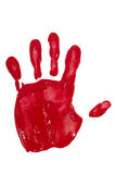 Impresión de la mano con la pintura roja imagen de archivo
