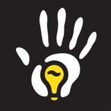 Impresión de la mano de la bombilla Fotografía de archivo libre de regalías