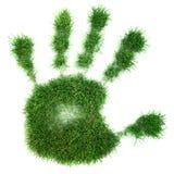 Impresión de la mano de la hierba Fotos de archivo libres de regalías