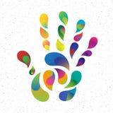 Impresión de la mano del arco iris Fotografía de archivo libre de regalías