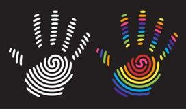 Impresión de la mano del arco iris Foto de archivo libre de regalías