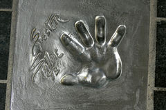 Impresión de la palma de Sylvester Stallone, estrella de Holywood en Cannes, Francia Imagen de archivo