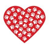 Impresión de la pata del perro hecha de fondo rojo del ejemplo del vector del corazón stock de ilustración