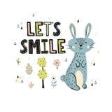 Impresión de la sonrisa de Let's con un conejo lindo ilustración del vector