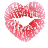 Impresión de labios en forma de corazón Foto de archivo libre de regalías