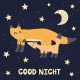 Impresión de las buenas noches con los zorros lindos estupendos - madre y bebé stock de ilustración