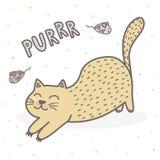 Impresión de ronroneo linda del gato Tarjeta divertida para los niños libre illustration