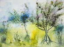 Impresión de tres árboles en un campo amarillo Fotografía de archivo