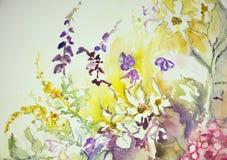 Impresión de una mezcla de flores salvajes Fotografía de archivo