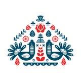 Impresión decorativa con el pavo real y los elementos florales Ornamentos nórdicos, modelo del arte popular stock de ilustración