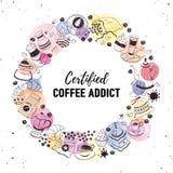Impresión del adicto al café stock de ilustración