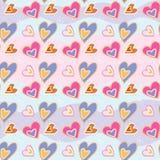 Impresión del amor Modelo decorativo con los corazones exhaustos de la mano Modelo inconsútil del vector stock de ilustración