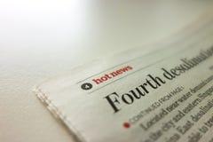 Impresión del artículo de noticias calientes Imagen de archivo libre de regalías