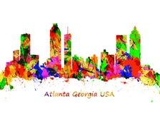 Impresión del arte de la acuarela del horizonte de Atlanta Georgia los E.E.U.U. ilustración del vector