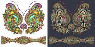 Impresión del bordado del collar para el diseño de la moda stock de ilustración