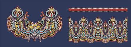 Impresión del bordado del collar para el diseño de la moda ilustración del vector