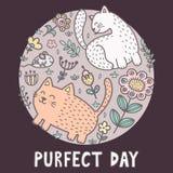 Impresión del día de Purfect con los gatos lindos Tarjeta divertida stock de ilustración