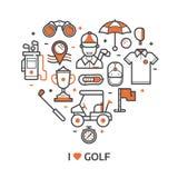 Impresión del golf del juego con los iconos del golf ilustración del vector