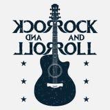 Impresión del grunge de la música del rock-and-roll con la guitarra Diseño de la música rock stock de ilustración