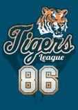 Impresión del jersey de la liga de los deportes del tigre Imagenes de archivo