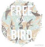 Impresión del lema en los pájaros de vuelo fondo, vector Imágenes de archivo libres de regalías