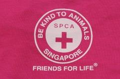 Impresión del logotipo de la camiseta de Singapur SPCA Imagenes de archivo