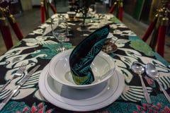 Impresión del modelo del batik en la cena del paño encima del museo admitido foto Pekalongan Indonesia del batik de la tabla Foto de archivo libre de regalías