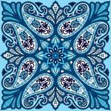 Impresión del pañuelo del vector con el ornamento de Paisley Pañuelo del algodón o de la seda, diseño cuadrado del modelo del pañ ilustración del vector