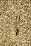 Impresión del pie en la arena de la playa Imágenes de archivo libres de regalías