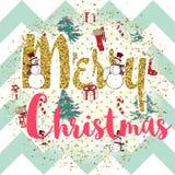Impresión del vector de la Navidad con lema Fotografía de archivo libre de regalías