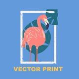 Impresión del verano con el flamenco Perfeccione para una impresión de la camiseta, postal, diseño de la etiqueta o para su agenc Imagen de archivo