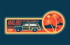 Impresión del viaje de Malibu que practica surf ilustración del vector